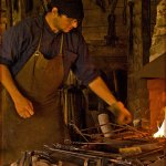 Bruce Peters / BLACKSMITH AT WORK / HM / Print Level 1 Pictorial Theme (People)